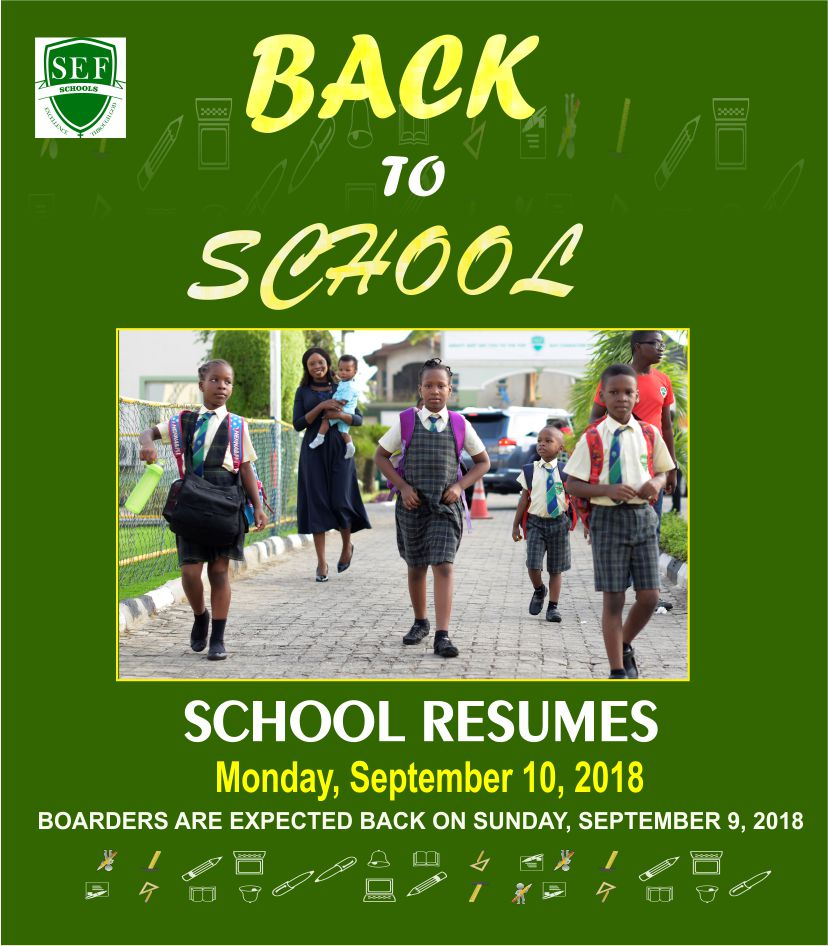 Back To School.  Supreme Education Foundation School Remumes Monday, September 10, 2018